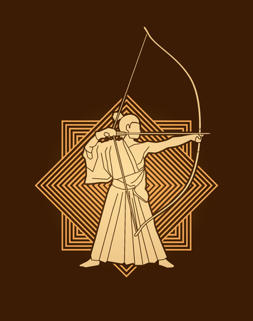 bowman: Man bowing Kyudo designed on luxury square background graphic vector. Illustration