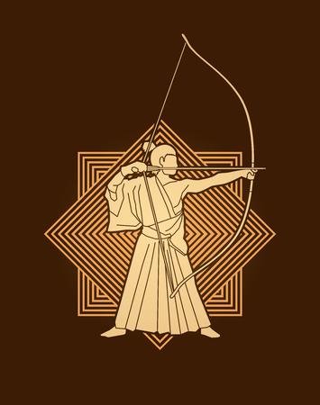 Man bowing Kyudo designed on luxury square background graphic vector. Illustration