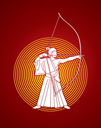 Man bowing Kyudo designed on sunlight background graphic vector. 일러스트
