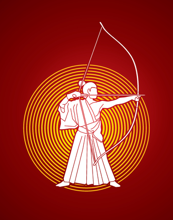 Man bowing Kyudo designed on sunlight background graphic vector. 向量圖像