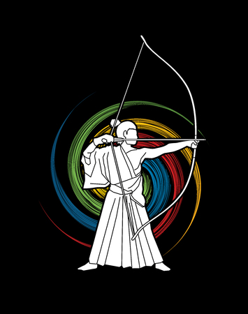 Man bowing Kyudo designed on spin wheel background graphic vector.