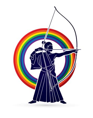 Man bowing Kyudo designed on rainbows background graphic vector. 일러스트