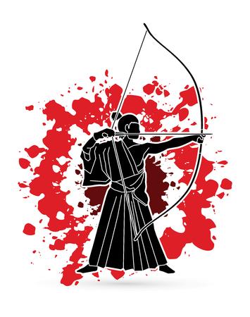 ready logos: Man bowing Kyudo designed on splash blood background graphic vector. Illustration