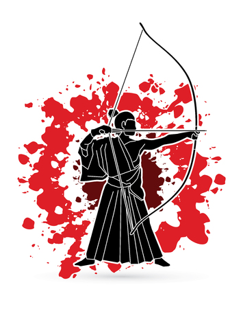 Man bowing Kyudo designed on splash blood background graphic vector. Illustration
