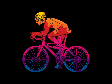 Bicycle racing designed using melting colors graphic vector