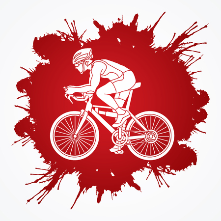 Bicycle racing designed on splatter blood background graphic vector.