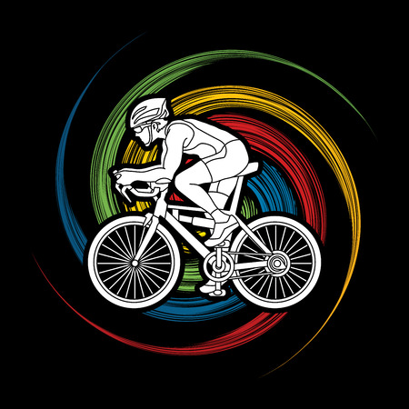 Bicycle racing designed on spin wheel background graphic vector.