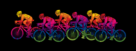 Group of Bicycle riding designed using melting colors graphic vector.