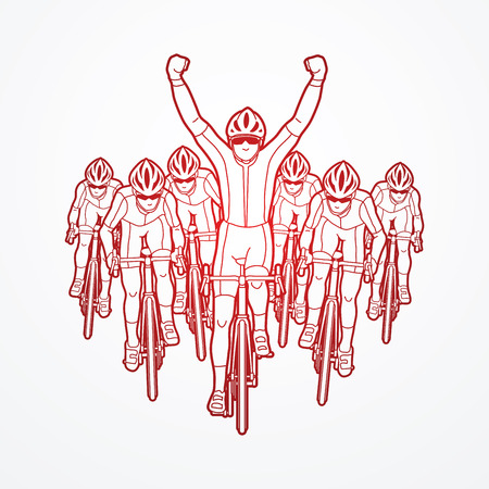 The winner with group of biking outline graphic vector. Illustration