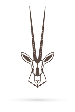 kalahari desert: Oryx head with long horn outline graphic vector
