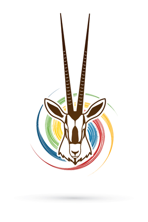 kalahari desert: Oryx head with long horn designed on spin wheel background graphic vector