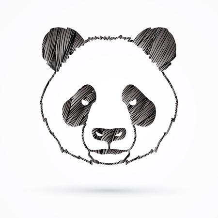 Panda head face front view designed using black grunge brush graphic vector. Illustration