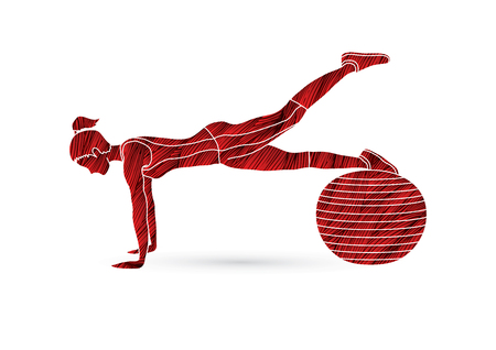 Woman exercising fitness swiss ball, female with pilates ball designed using grunge brush graphic vector Illustration