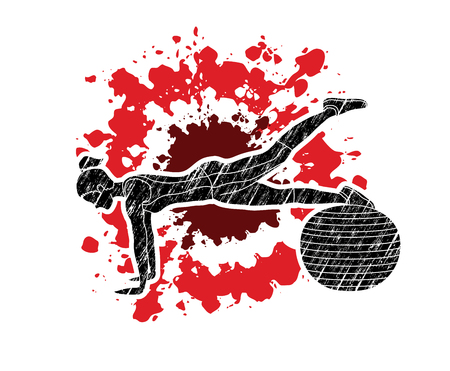Woman exercising fitness swiss ball, female with pilates ball designed using grunge brush on splatter blood background graphic vector Illustration