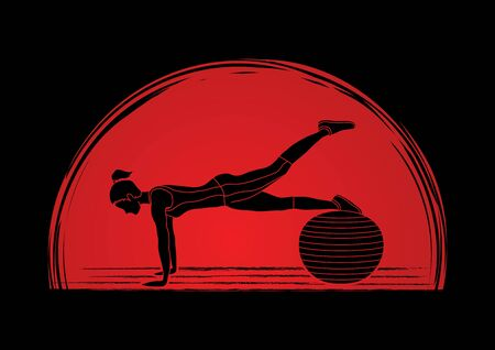 gym equipment: Woman exercising fitness swiss ball, female with pilates ball designed on sunrise graphic vector Illustration