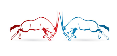 2 Oryx jumping to battle outline stroke graphic vector