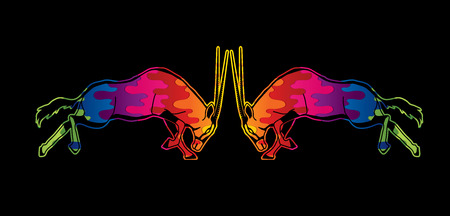 kalahari desert: 2 Oryx jumping to battle designed using melting colors graphic vector