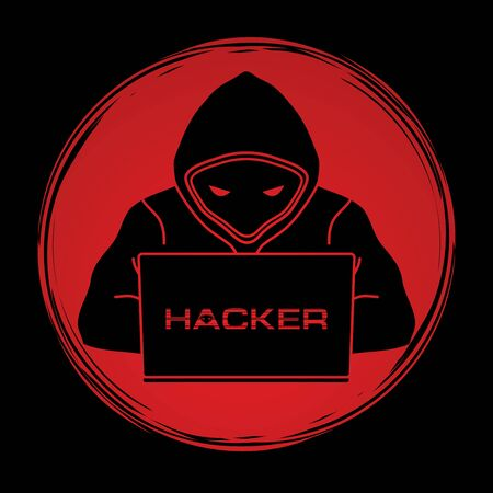 Hacker working on laptop designed on grunge circle background graphic vector. Illustration
