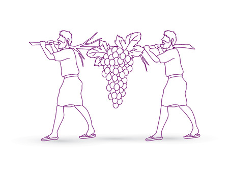 Two spies of Israel carrying grapes of Canaan, outline graphic vector.