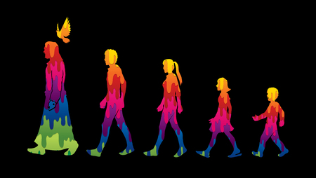 Walk with Jesus, Follow Jesus designed using melting colors graphic vector.