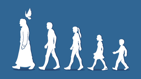 Walk with Jesus, Follow Jesus graphic vector.
