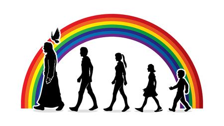 예수님과 함께 걷고, 무지개 배경 그래픽 벡터에 디자인 된 예수를 따라라.