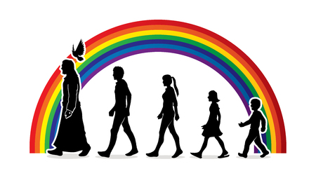 Walk with Jesus, Follow Jesus designed on rainbows background graphic vector.