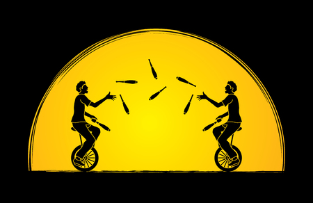 Men juggling pins while cycling together on sunlight background graphic vector.