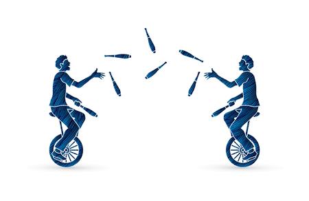 Jonglierende Stifte der Männer beim Radfahren zusammen entworfen unter Verwendung des Schmutzbürsten-Grafikvektors.