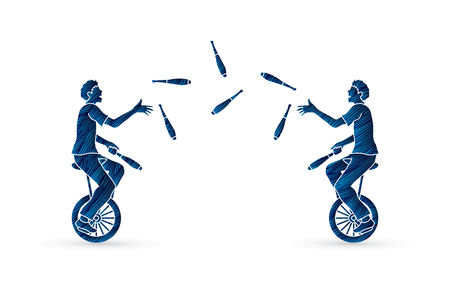 comedian: Men juggling pins while cycling together designed using grunge brush graphic vector. Illustration