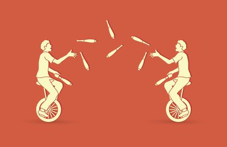 Mannen jongleren met pinnen tijdens het fietsen samen grafische vector.