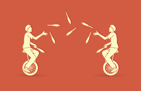 abilities: Men juggling pins while cycling together graphic vector.