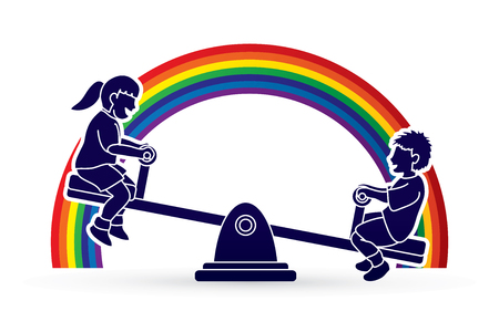 Happy Children, Little boy and girl are playing seesaw together designed on line rainbows background graphic vector