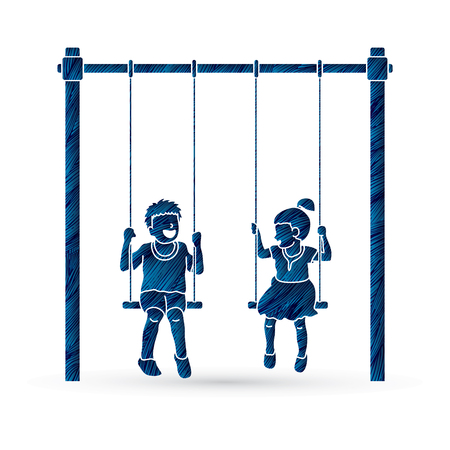 Happy Children, Little boy and girl are playing swing together designed using blue grunge brush graphic vector