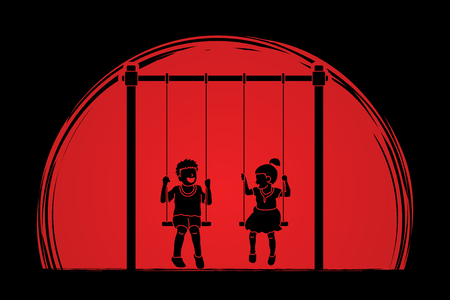 Happy Children, Little boy and girl are playing swing together designed on sunlight background graphic vector