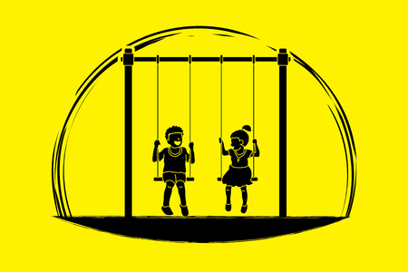 Happy Children, Little boy and girl are playing swing together graphic vector Illustration