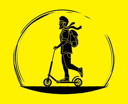 Hipster man riding kick scooter graphic vector.