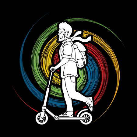 Hipster man riding kick scooter designed on spin wheel background graphic vector. Illustration