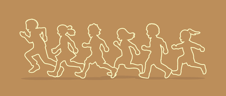 Little boy and girl running, Group of Children running, play together outline graphic vector Illustration