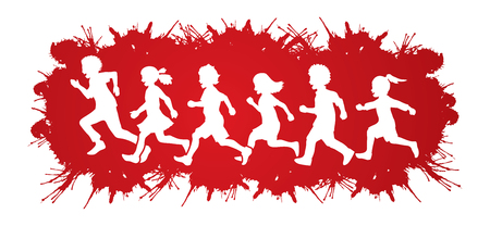 Little boy and girl running, Group of Children running, play together designed on splatter blood background graphic vector Illustration