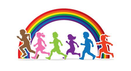 Pequeño niño y niña corriendo, Grupo de niños corriendo, jugar juntos diseñado en arco iris vector gráfico de fondo