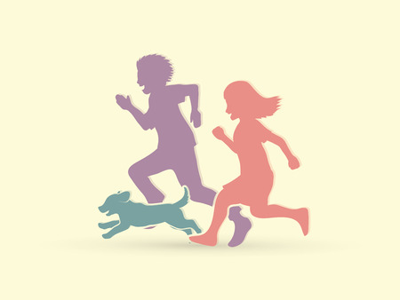 dog: Little boy and girl running together with puppy dog graphic vector Illustration