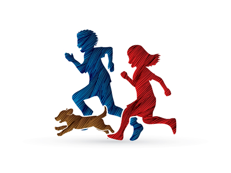 Little boy and girl running together with puppy dog designed using grunge brush graphic vector