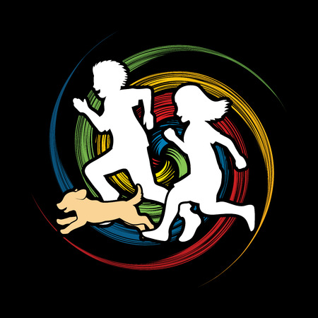 screen printing: Little boy and girl running together with puppy dog on spin wheel background graphic vector Illustration