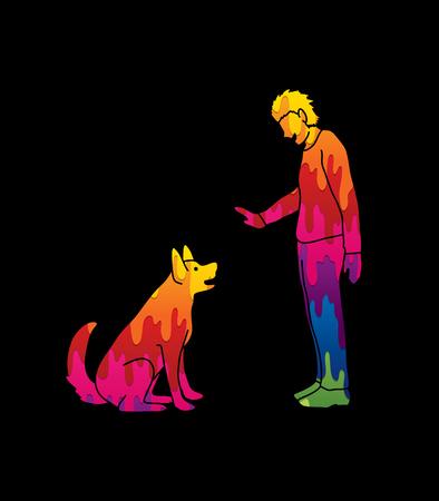 개 훈련, 그래픽 벡터를 사용 하여 설계하는 개 훈련하는 남자.