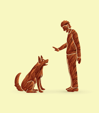 Dog training , A man training a dog designed using grunge brush graphic vector. Illustration
