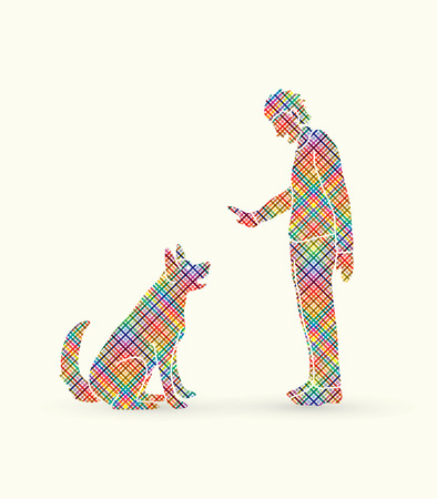 Dog training , A man training a dog designed using colorful pixels graphic vector. Illustration