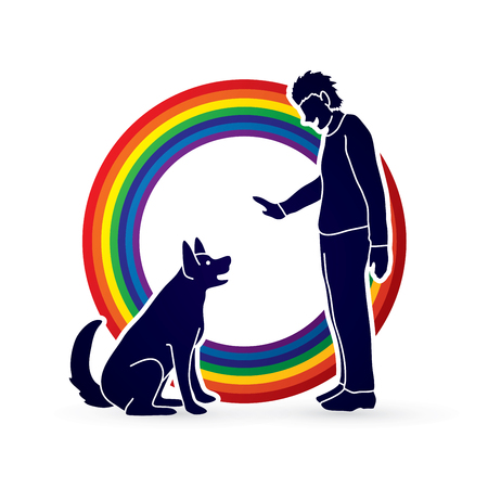 domesticated: Dog training , A man training a dog designed on line rainbows background graphic vector.