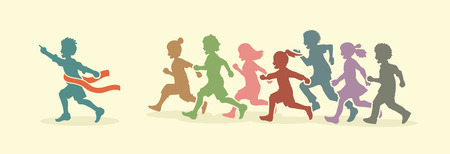 The winner Group of children running marathon, little boy and girl play together, team work, friendship designed using vintage colors graphic vector.