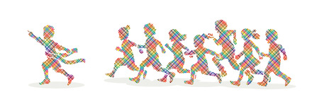 The winner Group of children running marathon, little boy and girl play together, team work , Friendship designed using colorful pixels graphic vector.